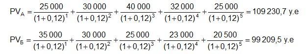 Расчет стоимости потока средств